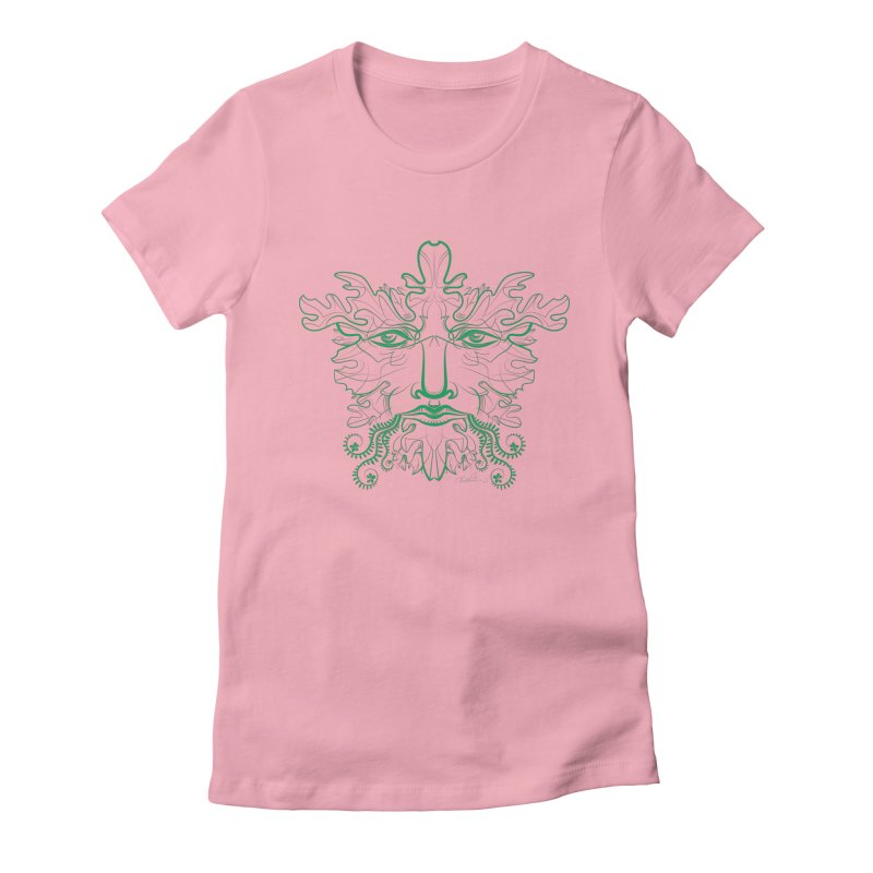 Green Man Women's Fitted T-Shirt by Todd Powelson's Artist Shop