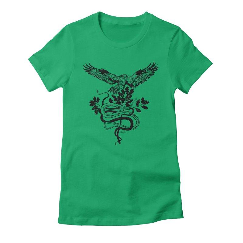 Western Caduceus Women's Fitted T-Shirt by Todd Powelson's Artist Shop