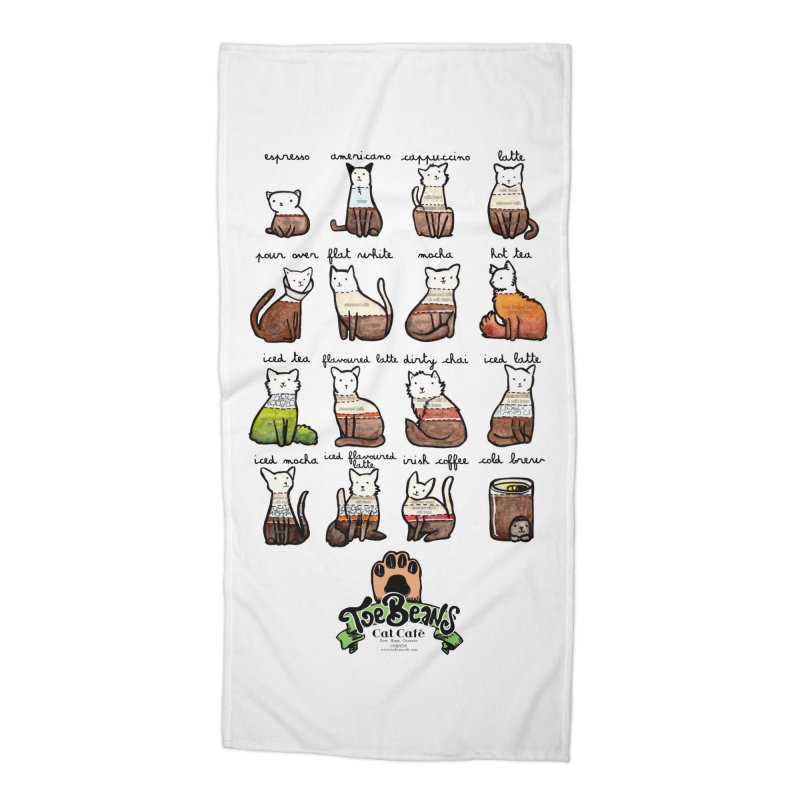 Coffee Cats Info-graphic Accessories Beach Towel by Toe Beans Cat Cafe Online Shop