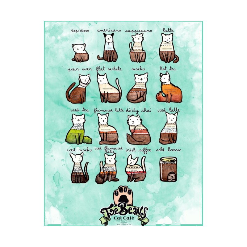 Coffee Cats Info-graphic Home Duvet by Toe Beans Cat Cafe Online Shop