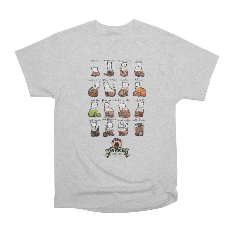 Coffee Cats Info-graphic Women's Heavyweight Unisex T-Shirt by Toe Beans Cat Cafe Online Shop