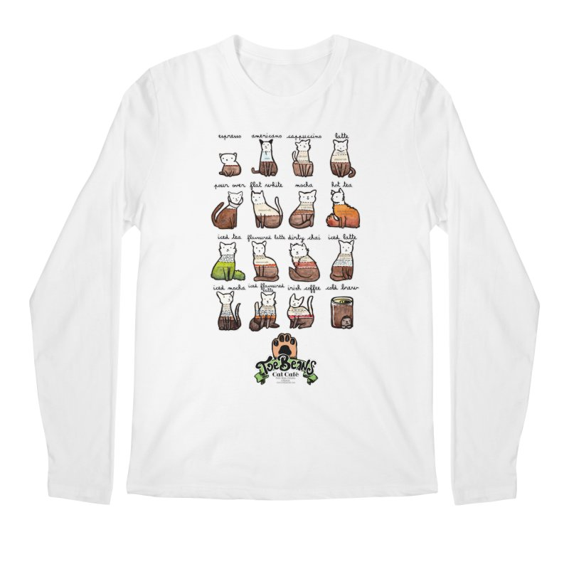 Coffee Cats Info-graphic Men's Regular Longsleeve T-Shirt by Toe Beans Cat Cafe Online Shop