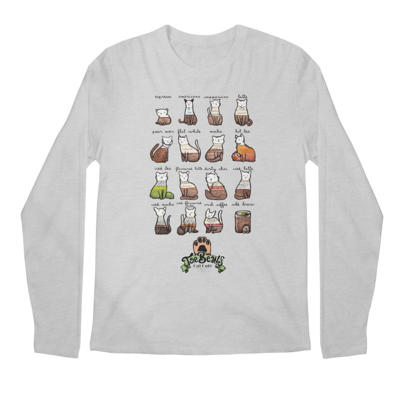 Coffee Cats Info-graphic Men's Regular Longsleeve T-Shirt by Toe Beans Cat Cafe Online Shop