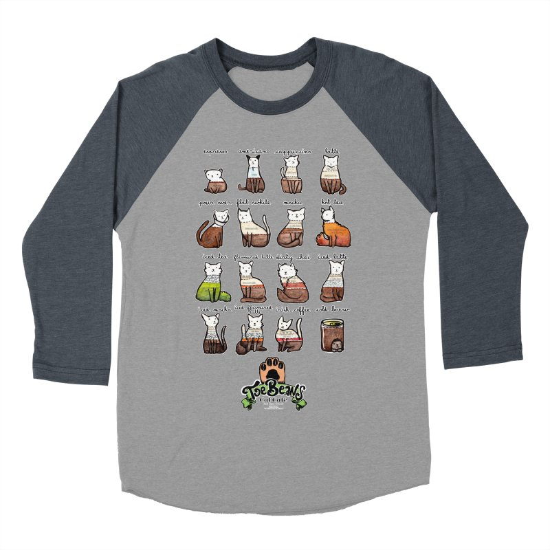 Coffee Cats Info-graphic Men's Baseball Triblend Longsleeve T-Shirt by Toe Beans Cat Cafe Online Shop