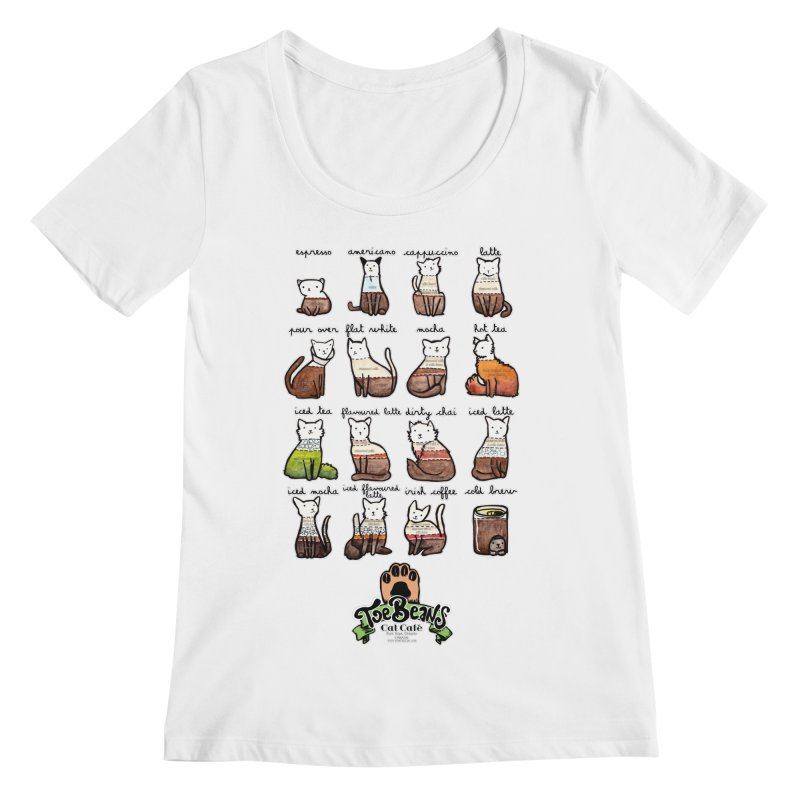 Coffee Cats Info-graphic Women's Regular Scoop Neck by Toe Beans Cat Cafe Online Shop