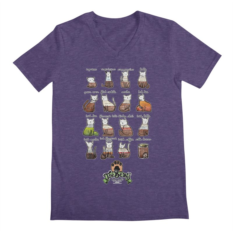 Coffee Cats Info-graphic Men's Regular V-Neck by Toe Beans Cat Cafe Online Shop