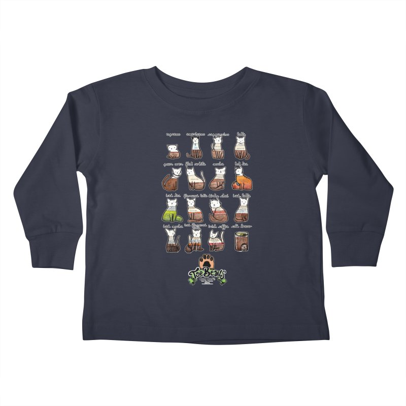 Coffee Cats Info-graphic Kids Toddler Longsleeve T-Shirt by Toe Beans Cat Cafe Online Shop