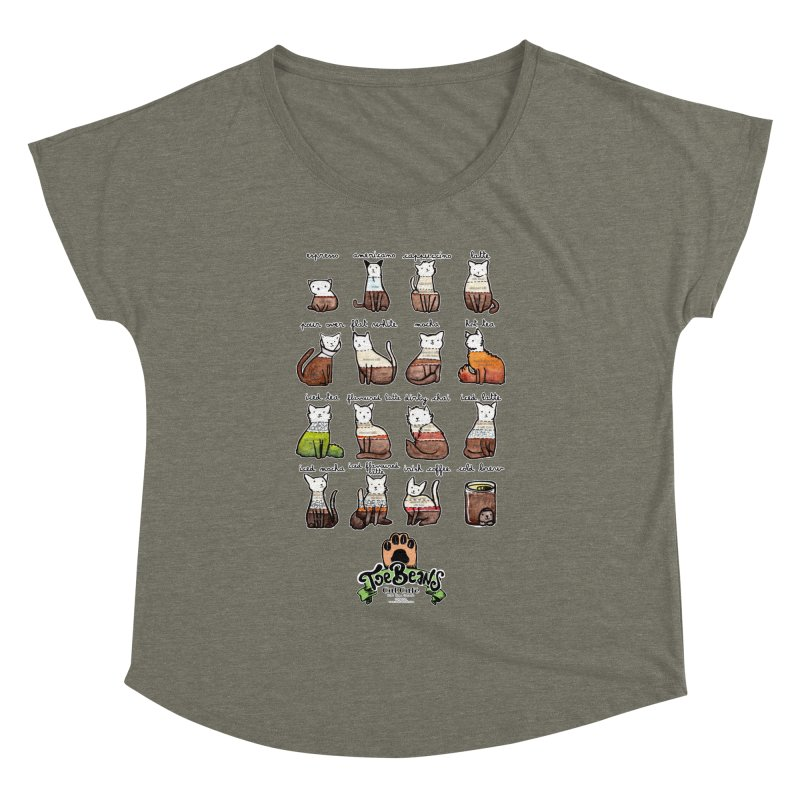 Coffee Cats Info-graphic Women's Dolman Scoop Neck by Toe Beans Cat Cafe Online Shop