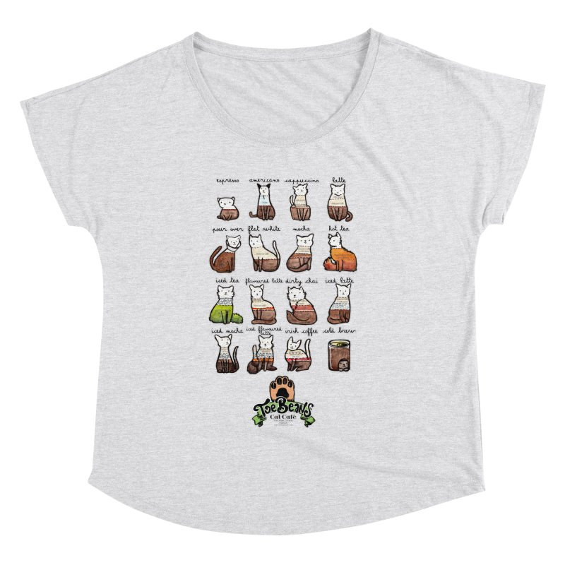 Coffee Cats Info-graphic Women's Dolman by Toe Beans Cat Cafe Online Shop