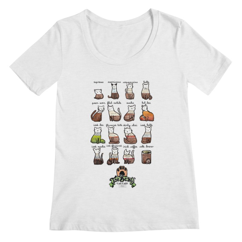 Coffee Cats Info-graphic Women's Scoopneck by Toe Beans Cat Cafe Online Shop