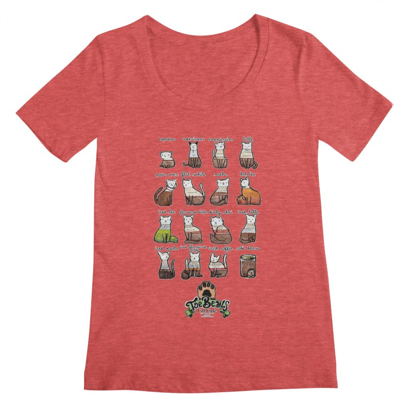 Coffee Cats Info-graphic Women's Scoop Neck by Toe Beans Cat Cafe Online Shop