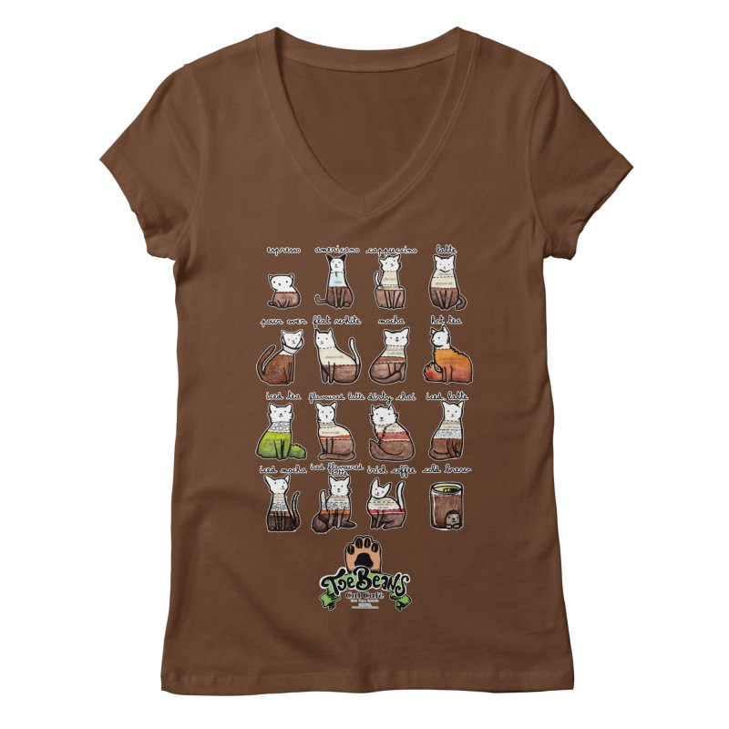 Coffee Cats Info-graphic Women's Regular V-Neck by Toe Beans Cat Cafe Online Shop