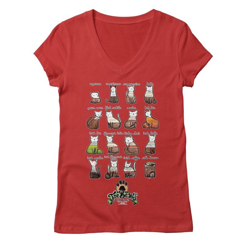 Coffee Cats Info-graphic Women's V-Neck by Toe Beans Cat Cafe Online Shop