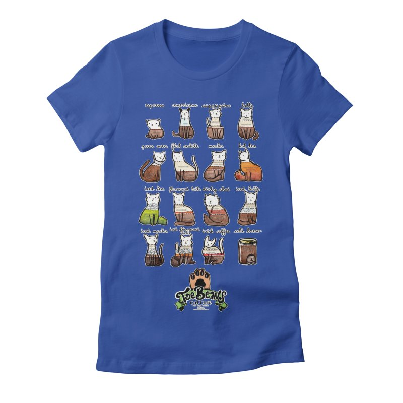 Coffee Cats Info-graphic Women's Fitted T-Shirt by Toe Beans Cat Cafe Online Shop