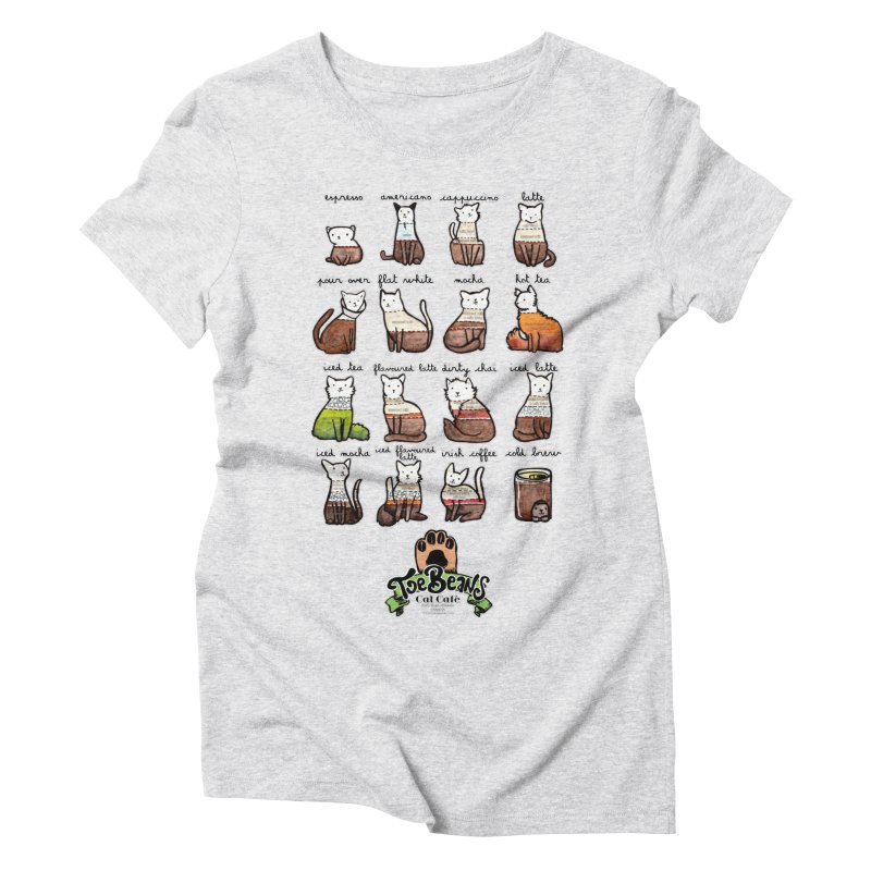 Coffee Cats Info-graphic Women's Triblend T-Shirt by Toe Beans Cat Cafe Online Shop