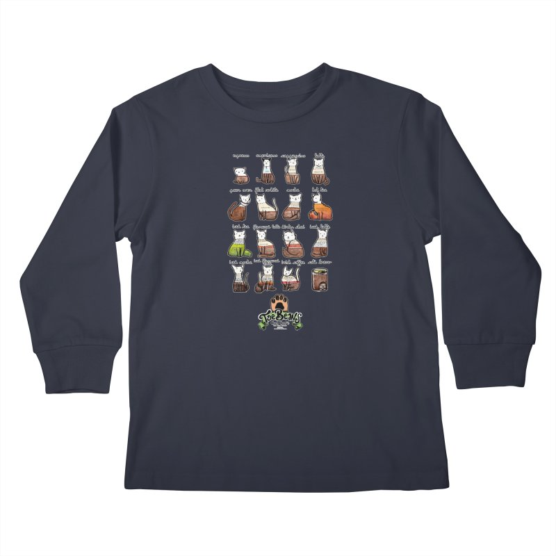Coffee Cats Info-graphic Kids Longsleeve T-Shirt by Toe Beans Cat Cafe Online Shop