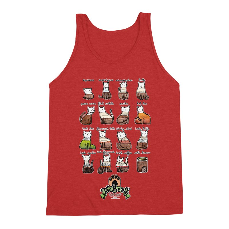 Coffee Cats Info-graphic Men's Triblend Tank by Toe Beans Cat Cafe Online Shop