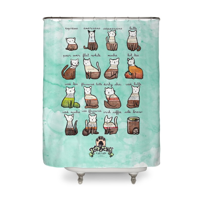 Coffee Cats Info-graphic Home Shower Curtain by Toe Beans Cat Cafe Online Shop