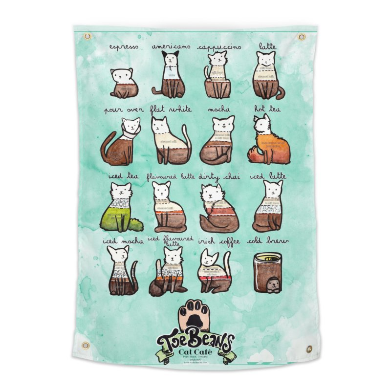 Coffee Cats Info-graphic Home Tapestry by Toe Beans Cat Cafe Online Shop