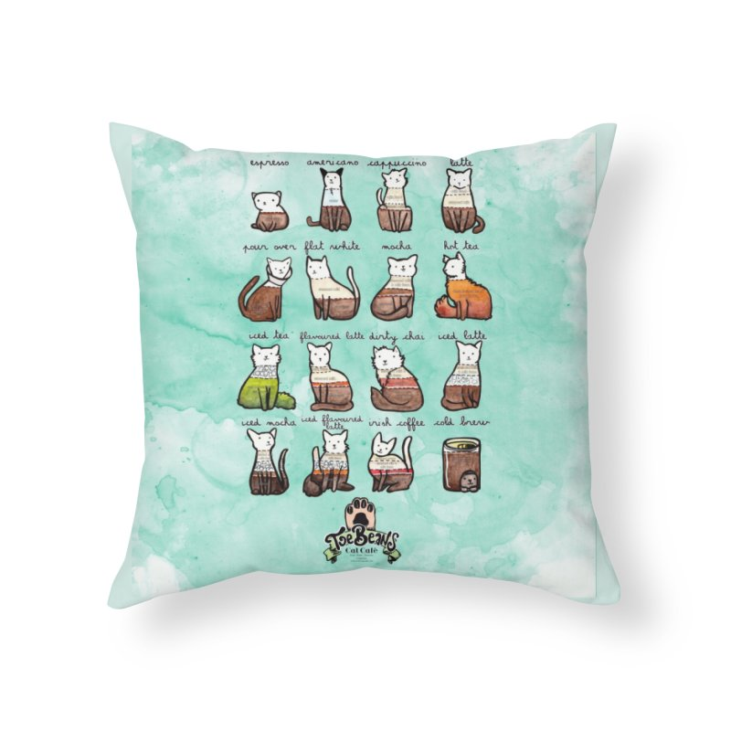 Coffee Cats Info-graphic Home Throw Pillow by Toe Beans Cat Cafe Online Shop