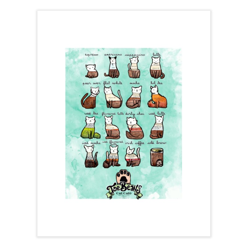 Coffee Cats Info-graphic Home Fine Art Print by Toe Beans Cat Cafe Online Shop