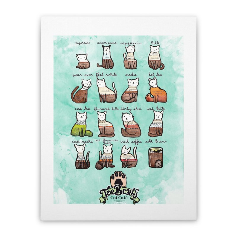 Coffee Cats Info-graphic Home Stretched Canvas by Toe Beans Cat Cafe Online Shop