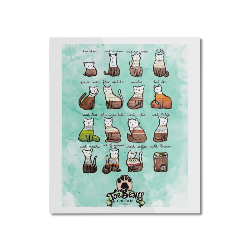 Coffee Cats Info-graphic Home Mounted Aluminum Print by Toe Beans Cat Cafe Online Shop