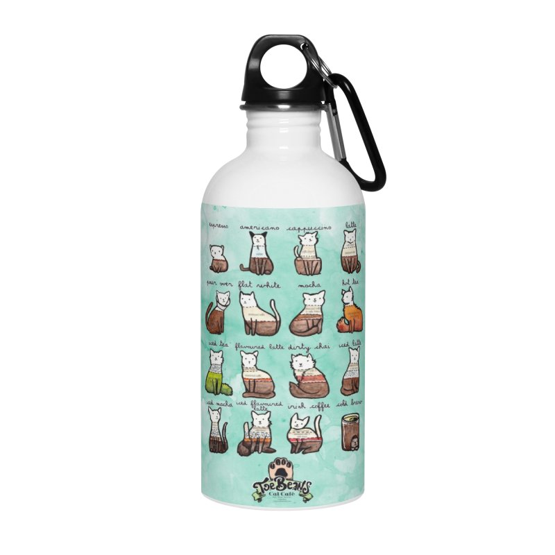 Coffee Cats Info-graphic Accessories Water Bottle by Toe Beans Cat Cafe Online Shop