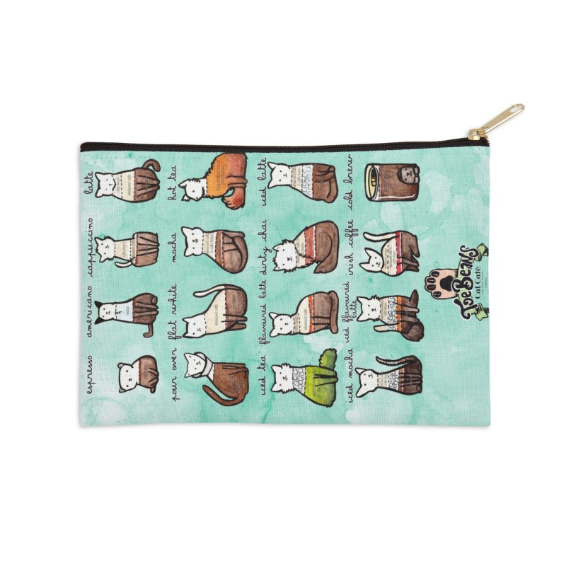 Coffee Cats Info-graphic Accessories Zip Pouch by Toe Beans Cat Cafe Online Shop