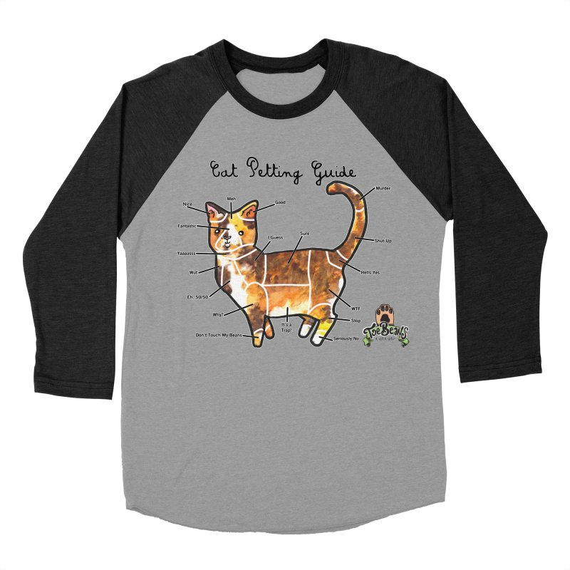 Cat Petting Guide Men's Baseball Triblend Longsleeve T-Shirt by Toe Beans Cat Cafe Online Shop