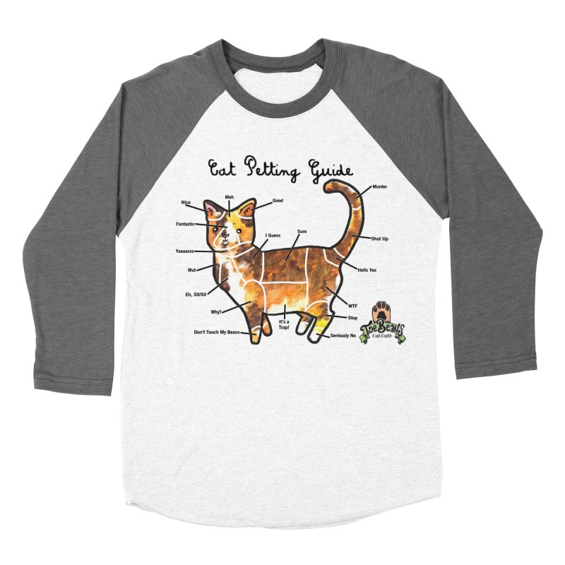Cat Petting Guide Men's Baseball Triblend Longsleeve T-Shirt by Toe Beans Cat Cafe Online Shop
