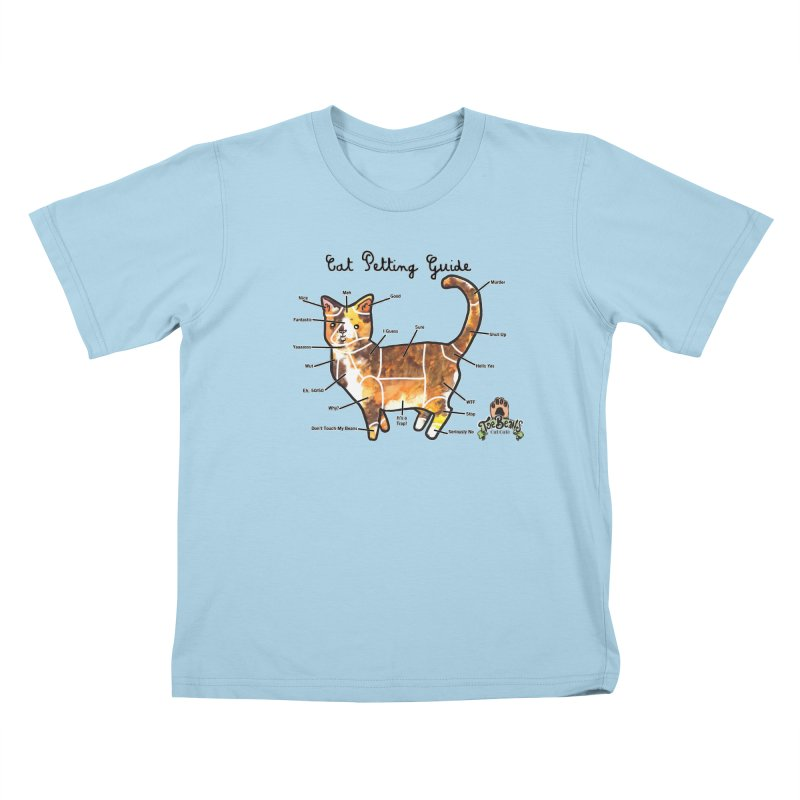 Cat Petting Guide Kids T-Shirt by Toe Beans Cat Cafe Online Shop