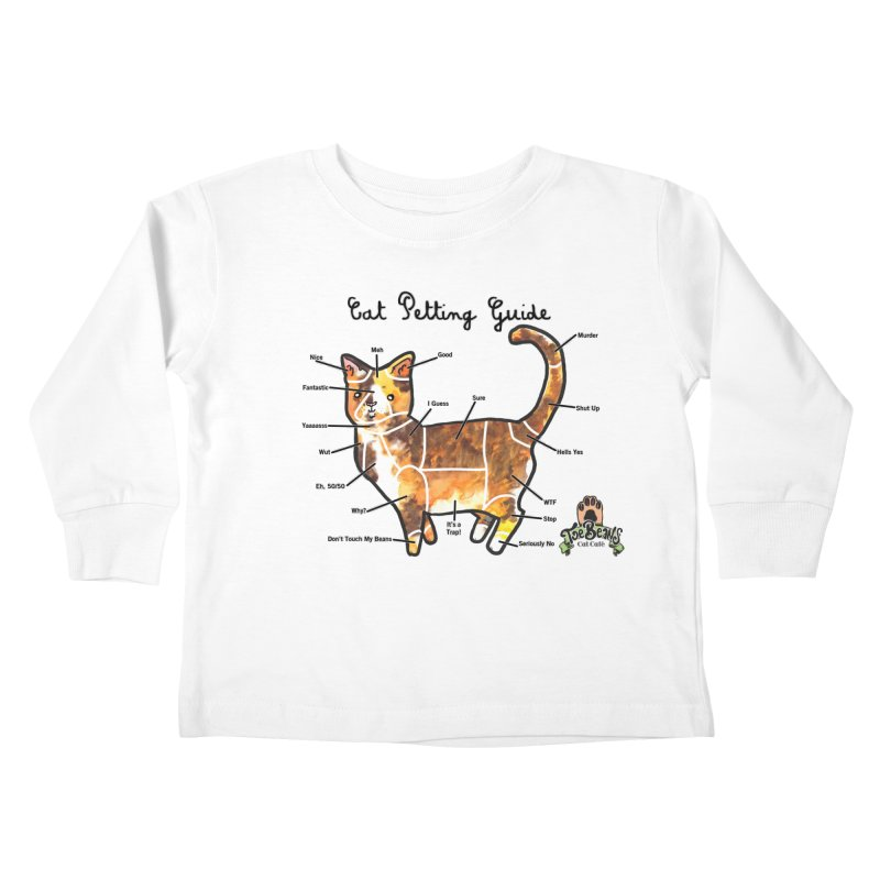 Cat Petting Guide Kids Toddler Longsleeve T-Shirt by Toe Beans Cat Cafe Online Shop