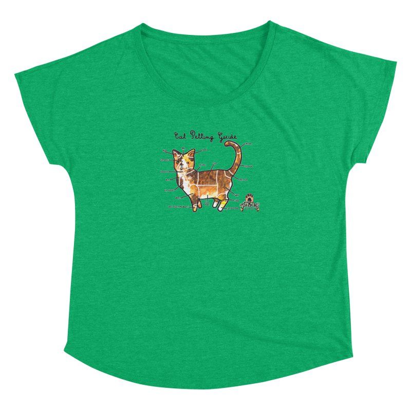 Cat Petting Guide Women's Scoop Neck by Toe Beans Cat Cafe Online Shop