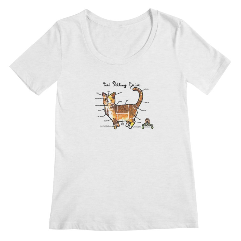 Cat Petting Guide Women's Regular Scoop Neck by Toe Beans Cat Cafe Online Shop