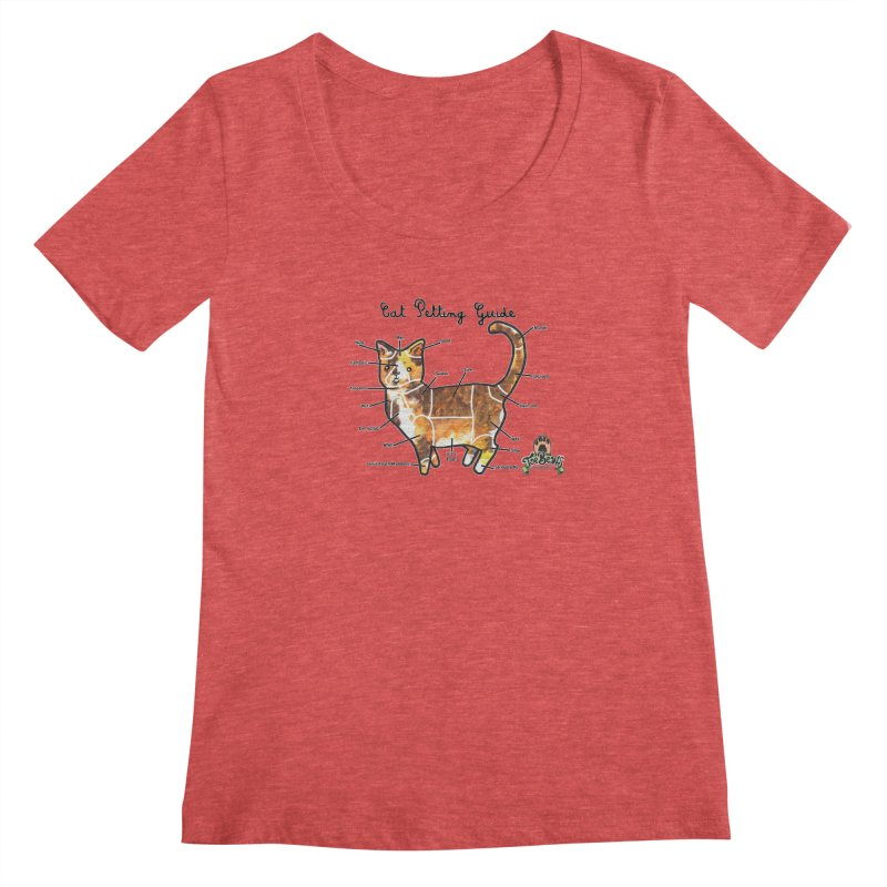 Cat Petting Guide Women's Scoopneck by Toe Beans Cat Cafe Online Shop