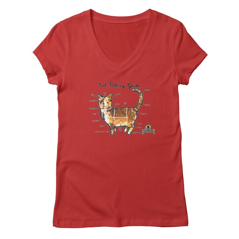Cat Petting Guide Women's Regular V-Neck by Toe Beans Cat Cafe Online Shop