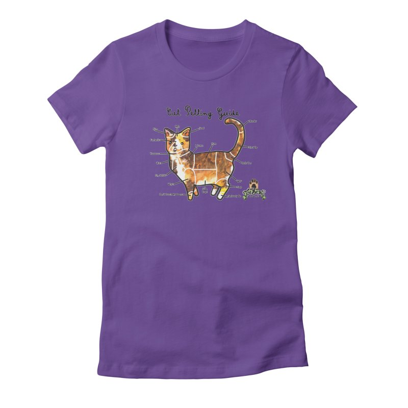 Cat Petting Guide Women's Fitted T-Shirt by Toe Beans Cat Cafe Online Shop
