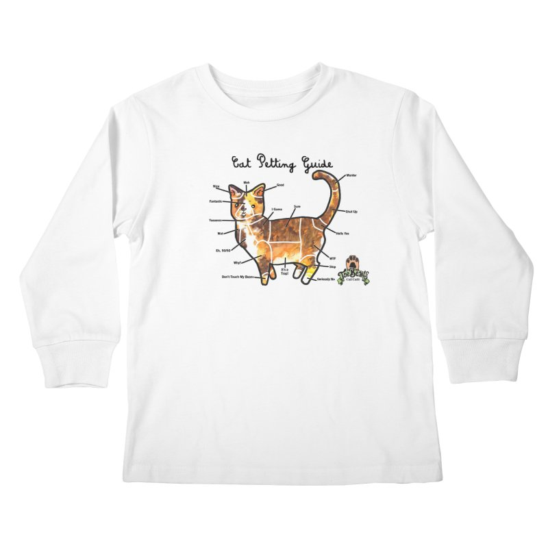 Cat Petting Guide Kids Longsleeve T-Shirt by Toe Beans Cat Cafe Online Shop
