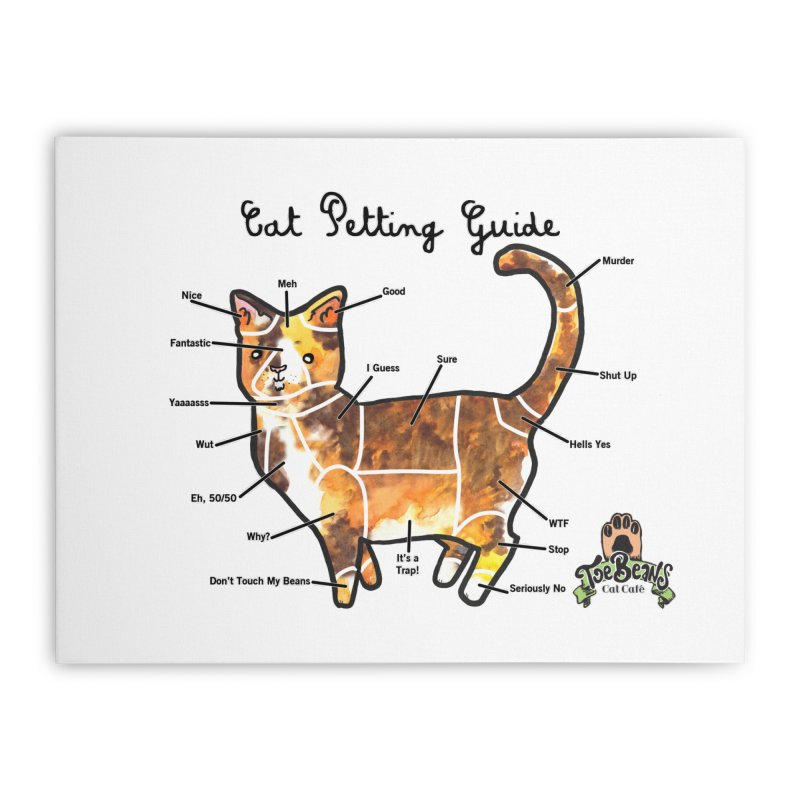 Cat Petting Guide Home Stretched Canvas by Toe Beans Cat Cafe Online Shop