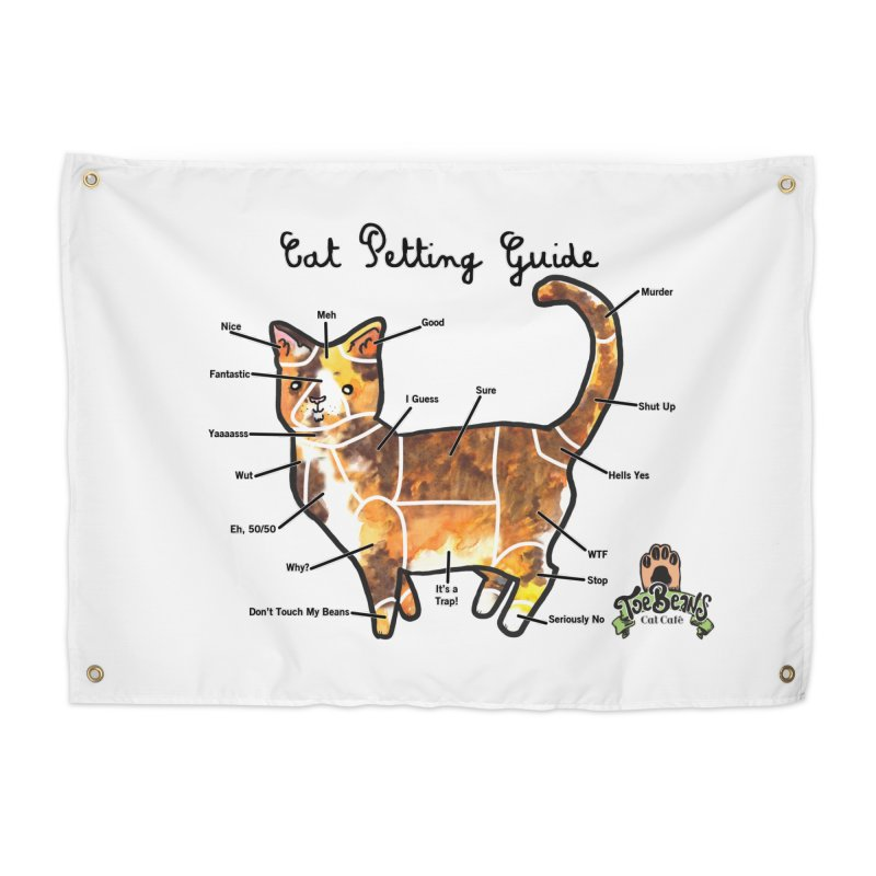 Cat Petting Guide Home Tapestry by Toe Beans Cat Cafe Online Shop