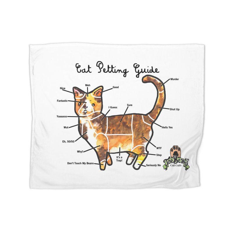 Cat Petting Guide Home Fleece Blanket Blanket by Toe Beans Cat Cafe Online Shop