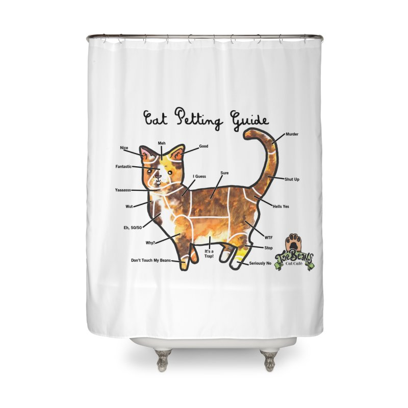 Cat Petting Guide Home Shower Curtain by Toe Beans Cat Cafe Online Shop