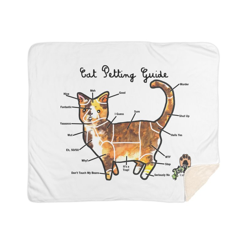 Cat Petting Guide Home Sherpa Blanket Blanket by Toe Beans Cat Cafe Online Shop
