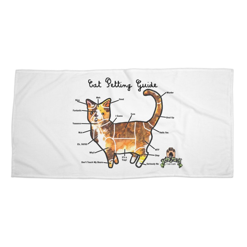 Cat Petting Guide Accessories Beach Towel by Toe Beans Cat Cafe Online Shop
