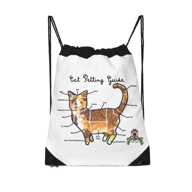 Cat Petting Guide Accessories Drawstring Bag Bag by Toe Beans Cat Cafe Online Shop