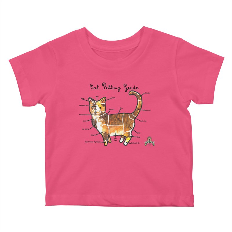 Toe Beans Cat Petting Guide Kids Baby T-Shirt by Toe Beans Cat Cafe Online Shop