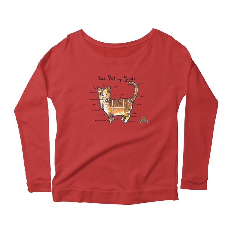 Toe Beans Cat Petting Guide Women's Longsleeve Scoopneck  by Toe Beans Cat Cafe Online Shop