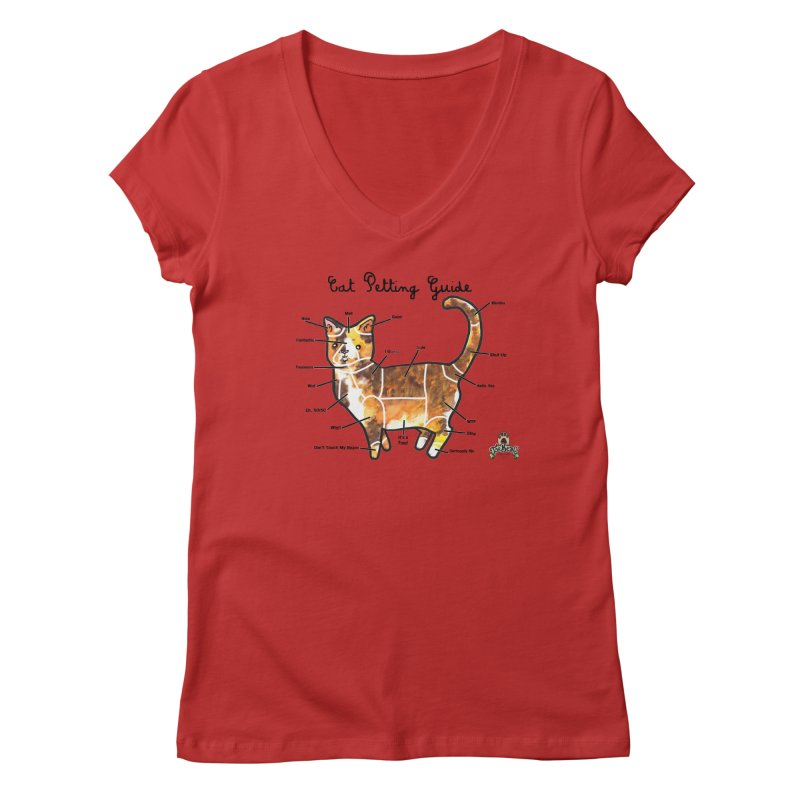 Toe Beans Cat Petting Guide Women's V-Neck by Toe Beans Cat Cafe Online Shop