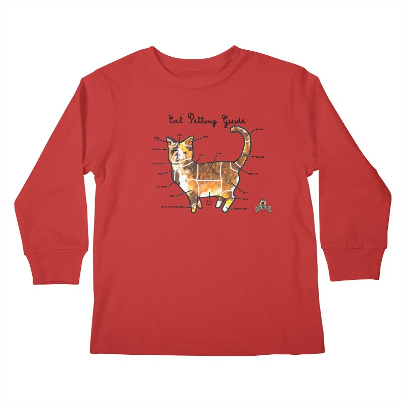 Toe Beans Cat Petting Guide Kids Longsleeve T-Shirt by Toe Beans Cat Cafe Online Shop
